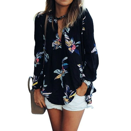 Nlife Women Floral Print Long Sleeve Chiffon Shirt Blouse Tops