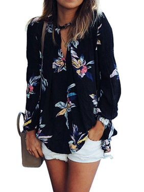31583ff2bd3 Product Image Nlife Women Floral Print Long Sleeve Chiffon Shirt Blouse Tops
