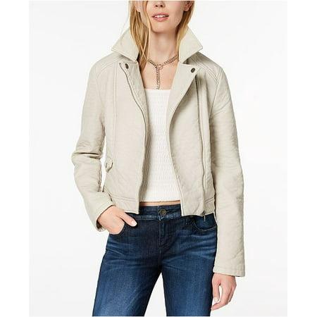 BB Dakota Pebbled Faux-Leather Biker Jacket Bone White M for $<!---->