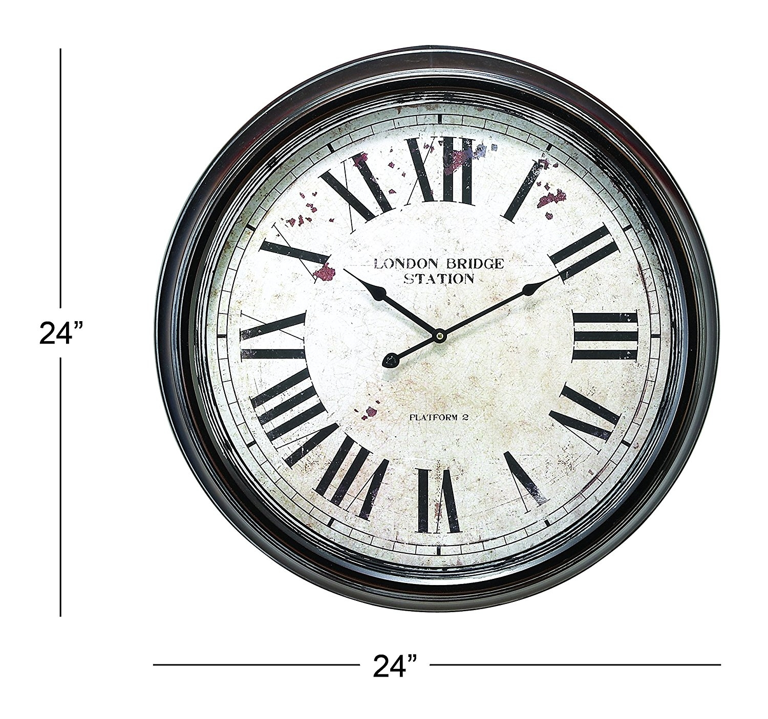 Deco 79 Metal Wall Clock With Big Size Roman Numbers