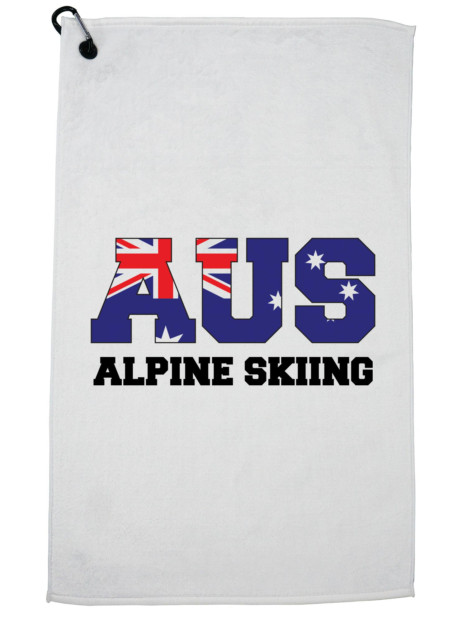 Australia Alpine Skiing Winter Olympic Korea AUS Flag Golf Towel with Carabiner Clip by Hollywood Thread