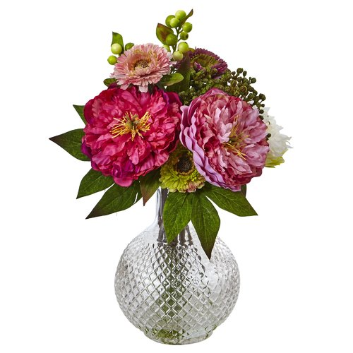 Nearly Natural Peony/Mum Floral Arrangements in Decorative Vase