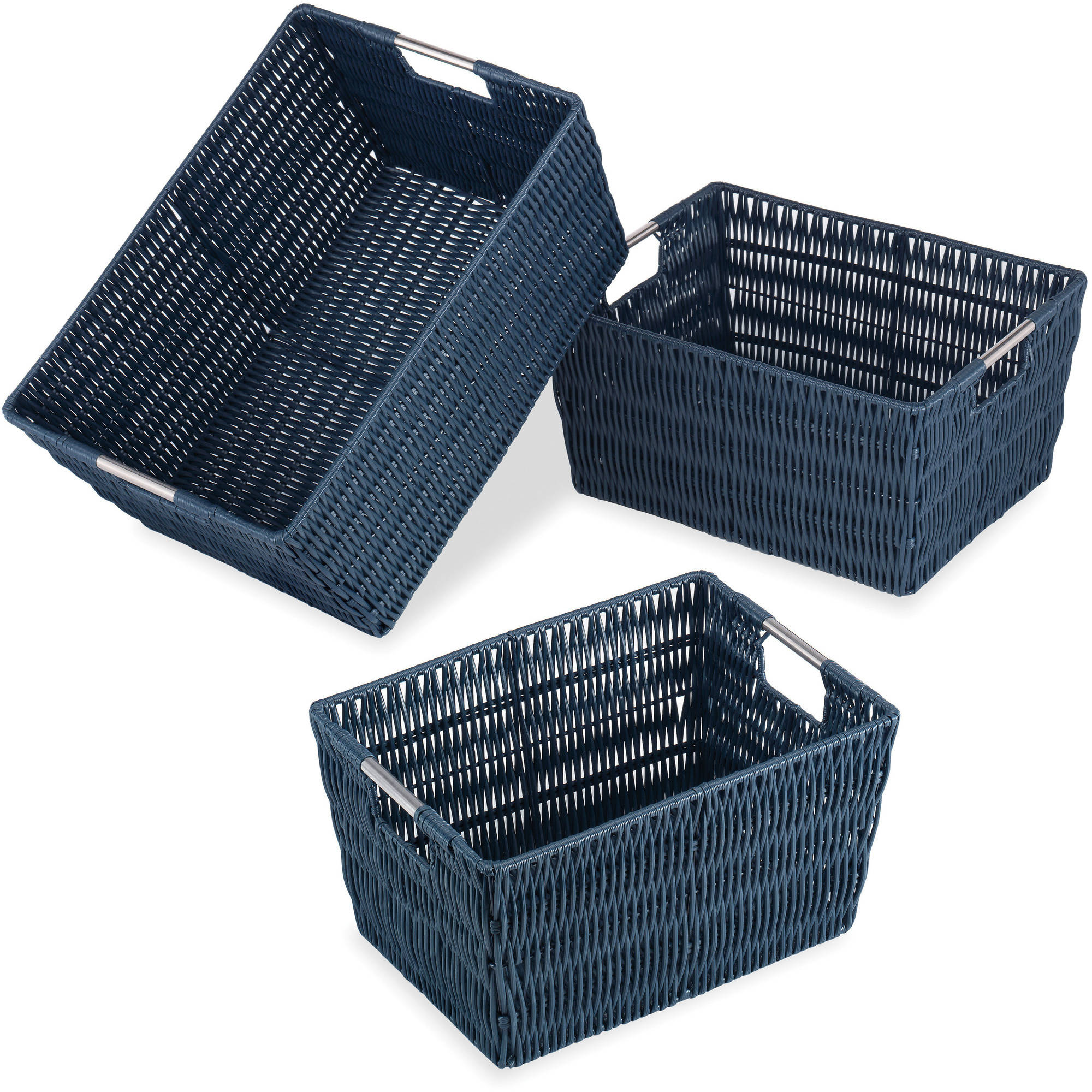 Whitmor Set of 3 Rattique Baskets, Navy