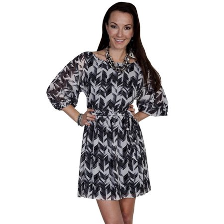 31e3116d603c Scully Western Dress Womens Stylized Print Puff Sleeves Polyester E194