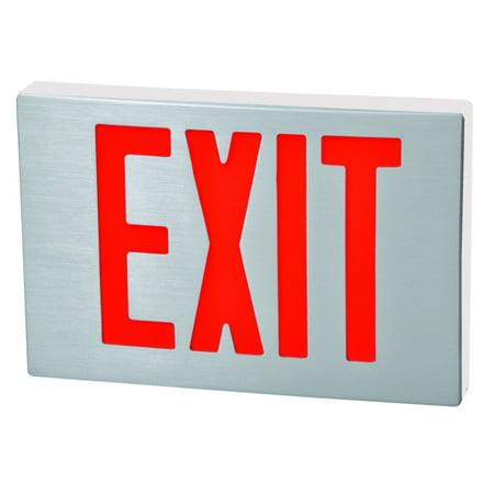 Cast Aluminum LED Exit Sign - Red LED - White Housing - Aluminum Face