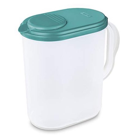 1 Gallon Pitcher Blue Atoll Lid w/tab Freezer and Dishwasher Safe Mix Drinks right in the Pitcher Water Tea Juices BPA-free and phthalate-free (Plastic Dishwasher Safe Pitcher)