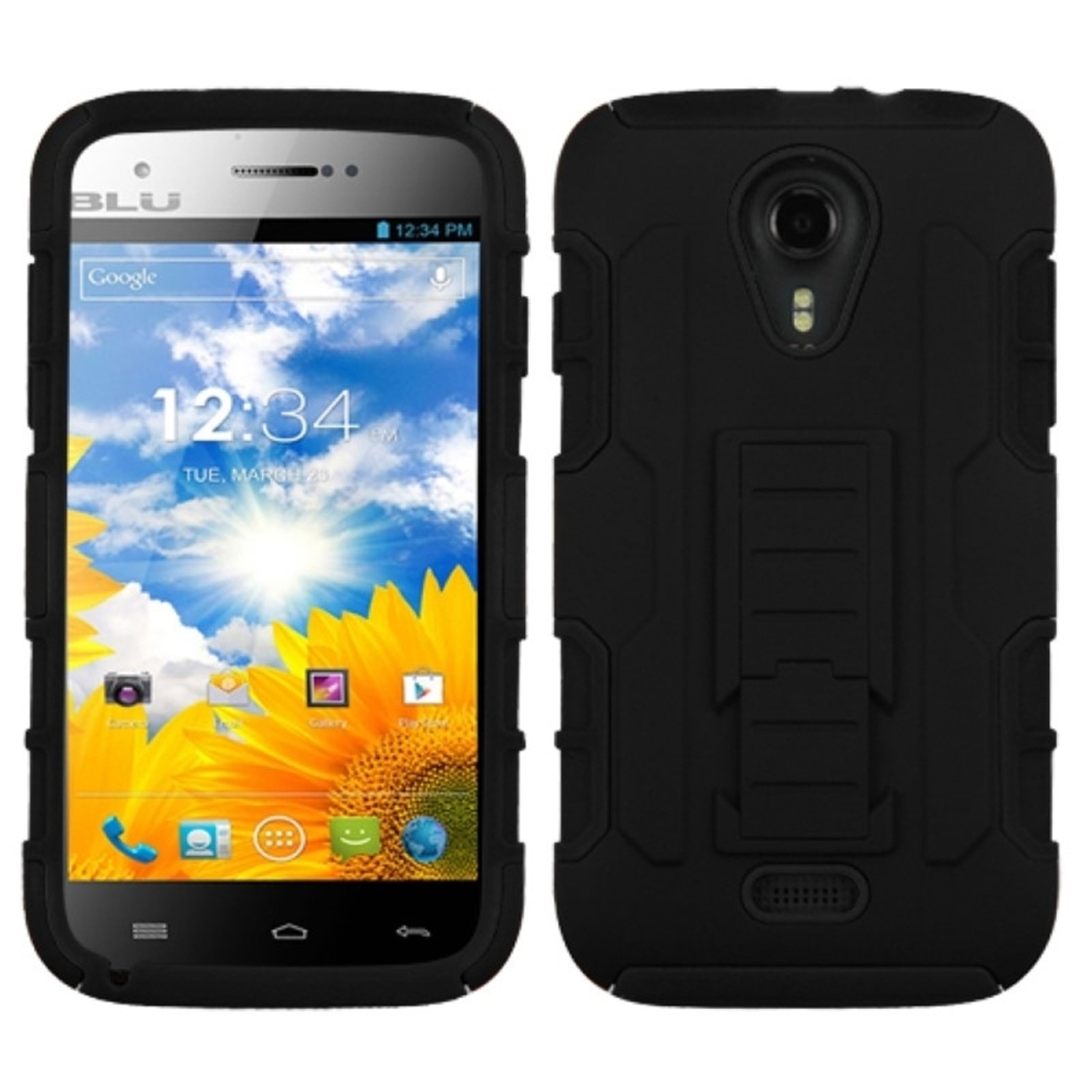 Insten Black/Black Car Armor Stand Case Cover Rubberized For BLU Studio 5.0 D530 D520