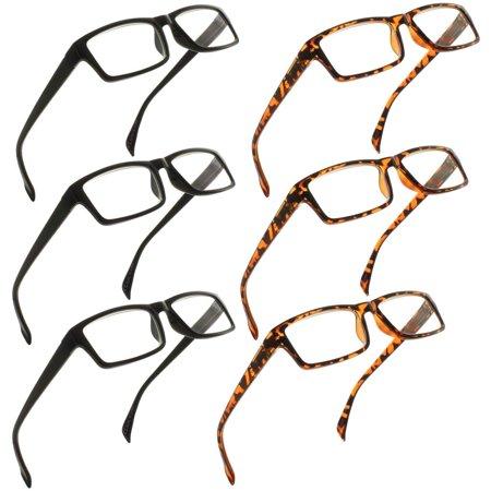 FIORE Reading Glasses 1.25 | 6 Pack of Readers for Men and Women | 3 Black & 3 Tortoise