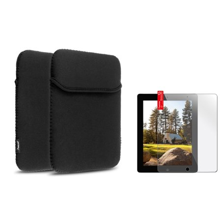 Insten Black Sleeve Pouch Case+LCD Protector Guard Film for iPad 4 3 2 iPad Air 2019 (Best Ipad Escape Games 2019)