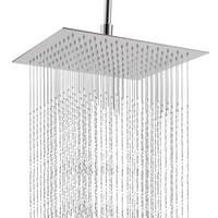 WALFRONT 12 Inches Square Rainfall Shower Head, Stainless Steel Ultra Thin Bath High Pressure Waterfall Rain Shower Head