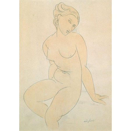 Seated Female Nude Poster Print by Modigliani