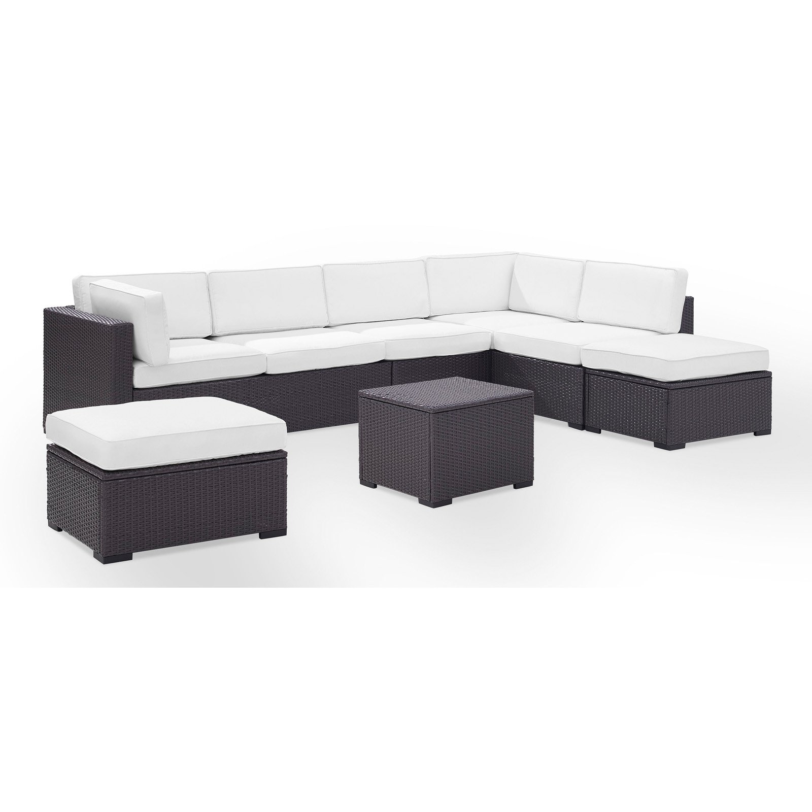 Crosley Furniture Biscayne 7 Person Outdoor Wicker Seating Set In White    Two Loveseats, One Armless Chair, Coffee Table, Two Ottomans