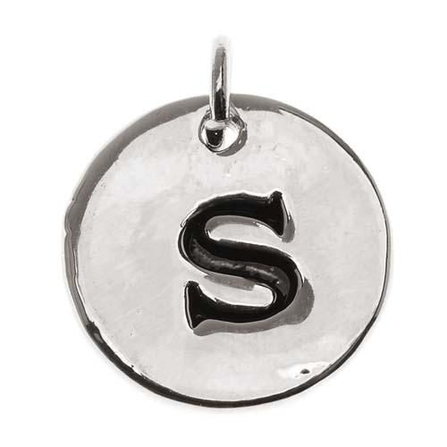Lead-Free Pewter, Round Alphabet Charm Lowercase Letter 's' 13mm, 1 Piece, Silver Plated