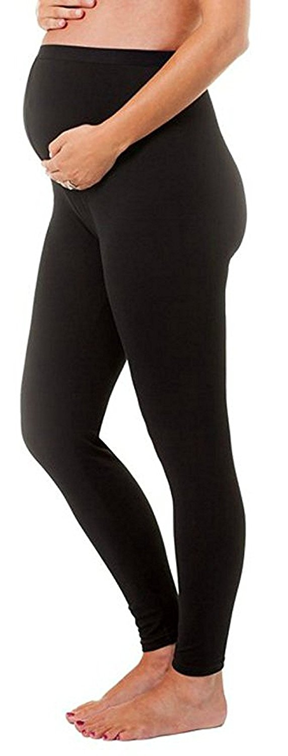 Soft Solid Stretch Black Maternity Leggings By Touch Me