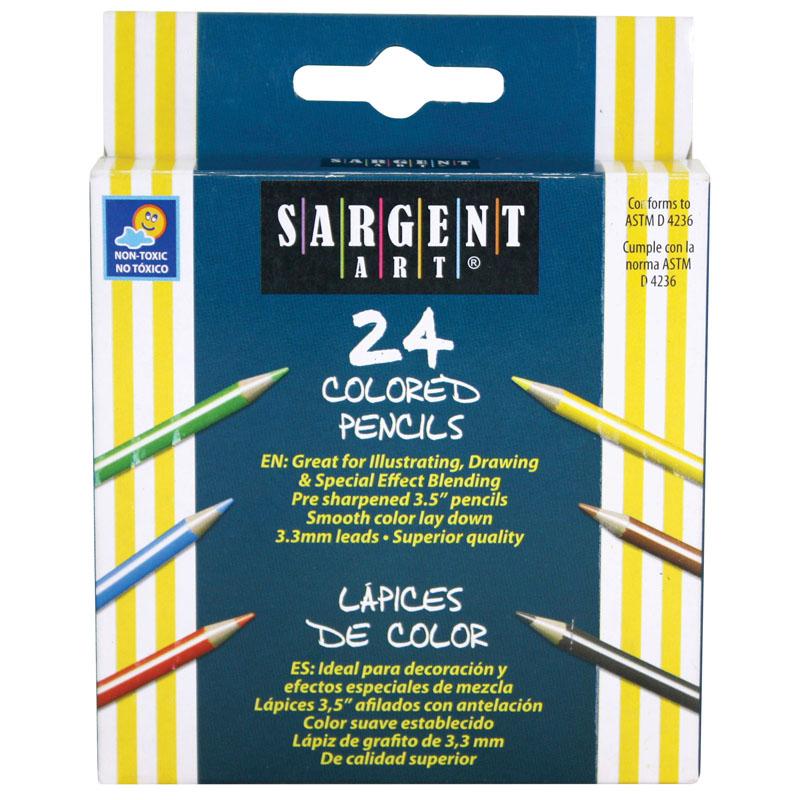 SARGENT ART HALF-SIZED COLORED PENCILS 24 COLOR SET
