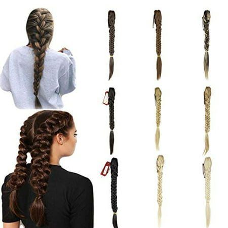 NK Beauty Womens Long Straight Fishtail Braids Hair Extension Ponytail Hairpieces with a Jaw/Claw