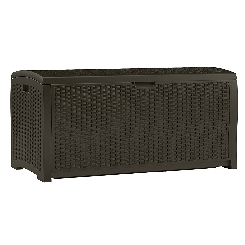 Suncast DBW9200 Mocha Wicker Resin Deck Box, 99-Gallon by
