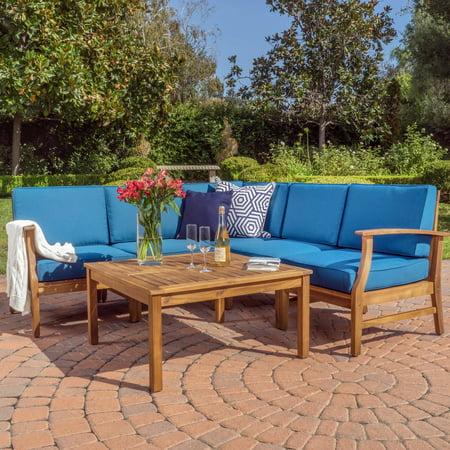 Perla Wooden 6 Piece Patio Sectional Sofa Set