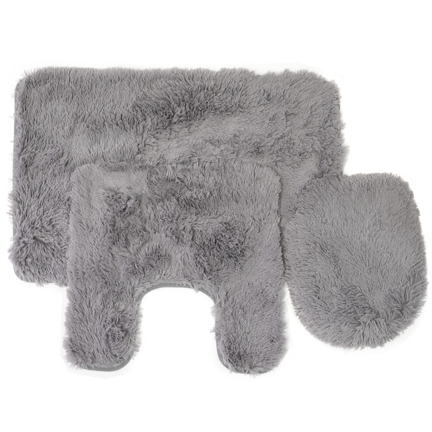 Fluff 3 Piece Faux Fur Bathroom Rug, Contour And Lid Cover