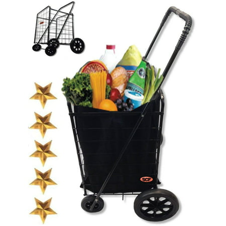Extra Large Heavy-Duty Black Folding Utility Cart Folds Up Rolling Storage Shopping Carrier from SCF (BLACK) with BONUS