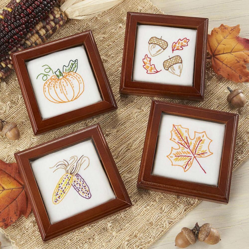 Craftways® Classic Fall Coasters Stamped Embroidery Kit