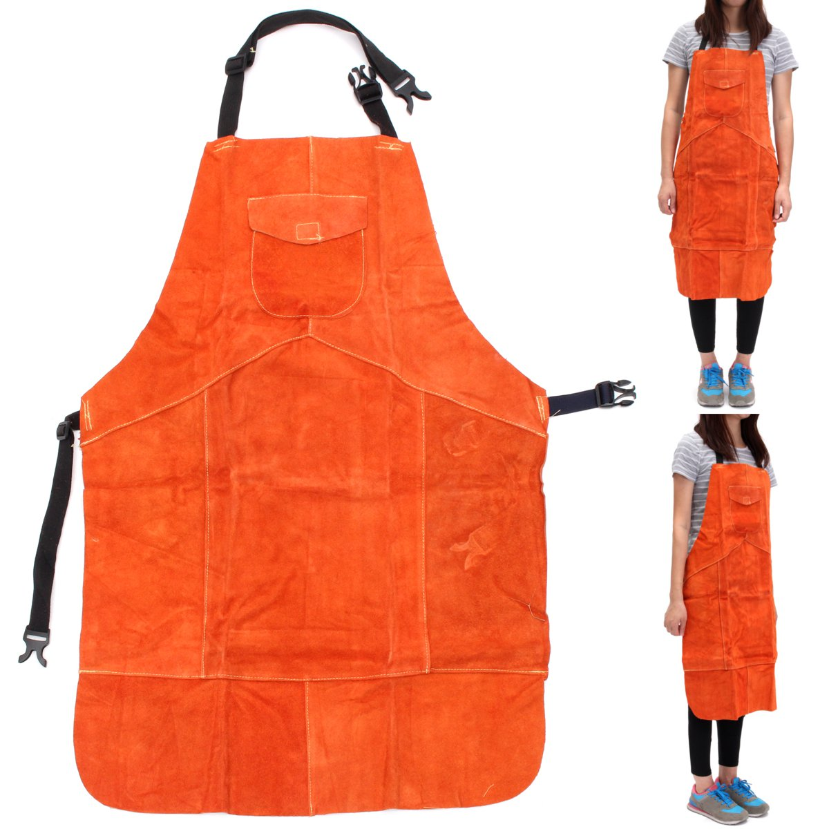 Cowhide Leather Welding Bib Shop Apron Heat Resistant Blacksmith Mechanic Smock