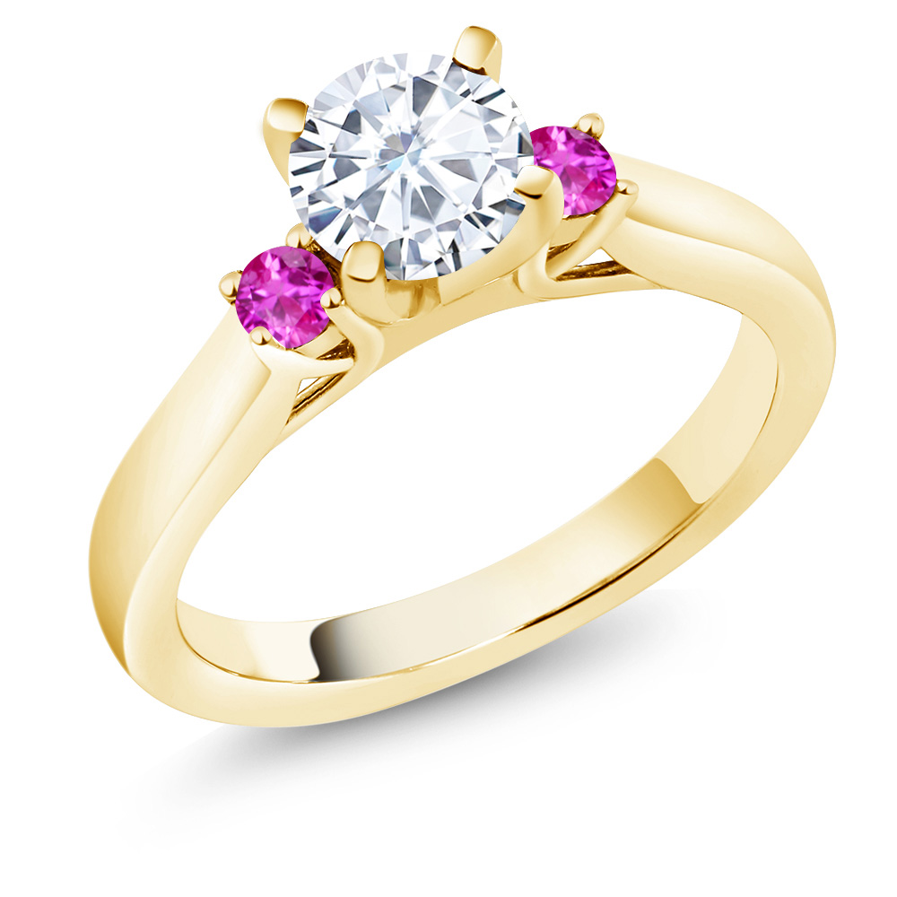 0.94 Ct White Created Moissanite Pink Sapphire 14K Yellow Gold 3-Stone Ring by