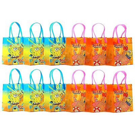 12PCS SpongeBob Squarepants Goodie Party Favor Gift Birthday Loot Bags - Spongebob First Birthday