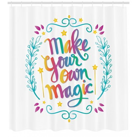 Quote Shower Curtain, Make Your Own Magic Message with Colorful Letters  Rainbow Calligraphy Illustration, Fabric Bathroom Set with Hooks, 69W X 84L