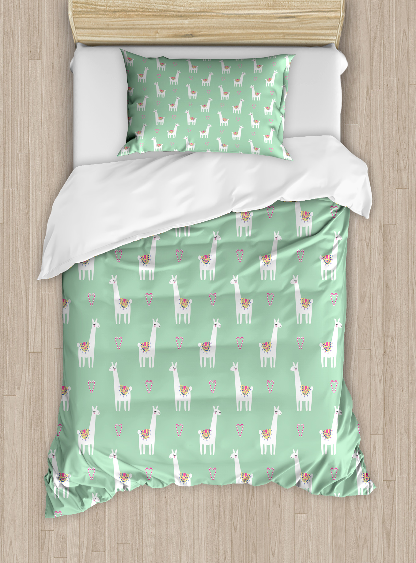 Llama Twin Size Duvet Cover Set Cute Llama With Candy