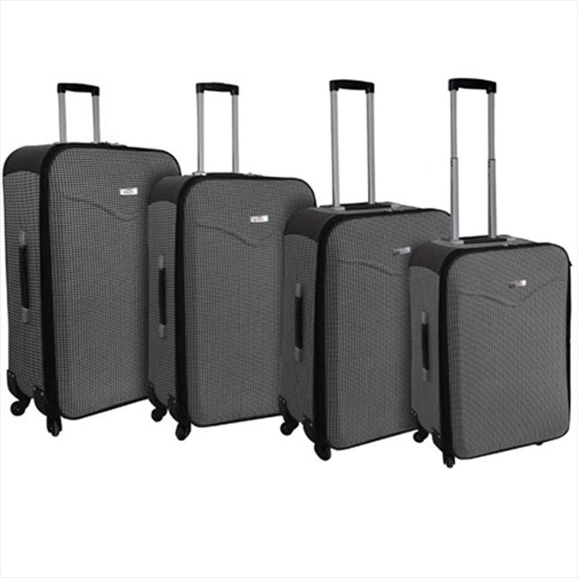 Hipack L-HY588-BK-WHT 4-Piece Expandable Spinner Luggage Set, Black and White Houndstooth