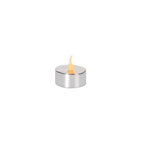 Pack of 4 LED Lighted Battery Operated Flicker Flame Silver Christmas Tea Light Candles ()
