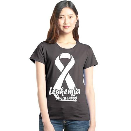 Shop4Ever Women's Leukemia Awareness Ribbon Support Graphic - Leukemia Awareness Color