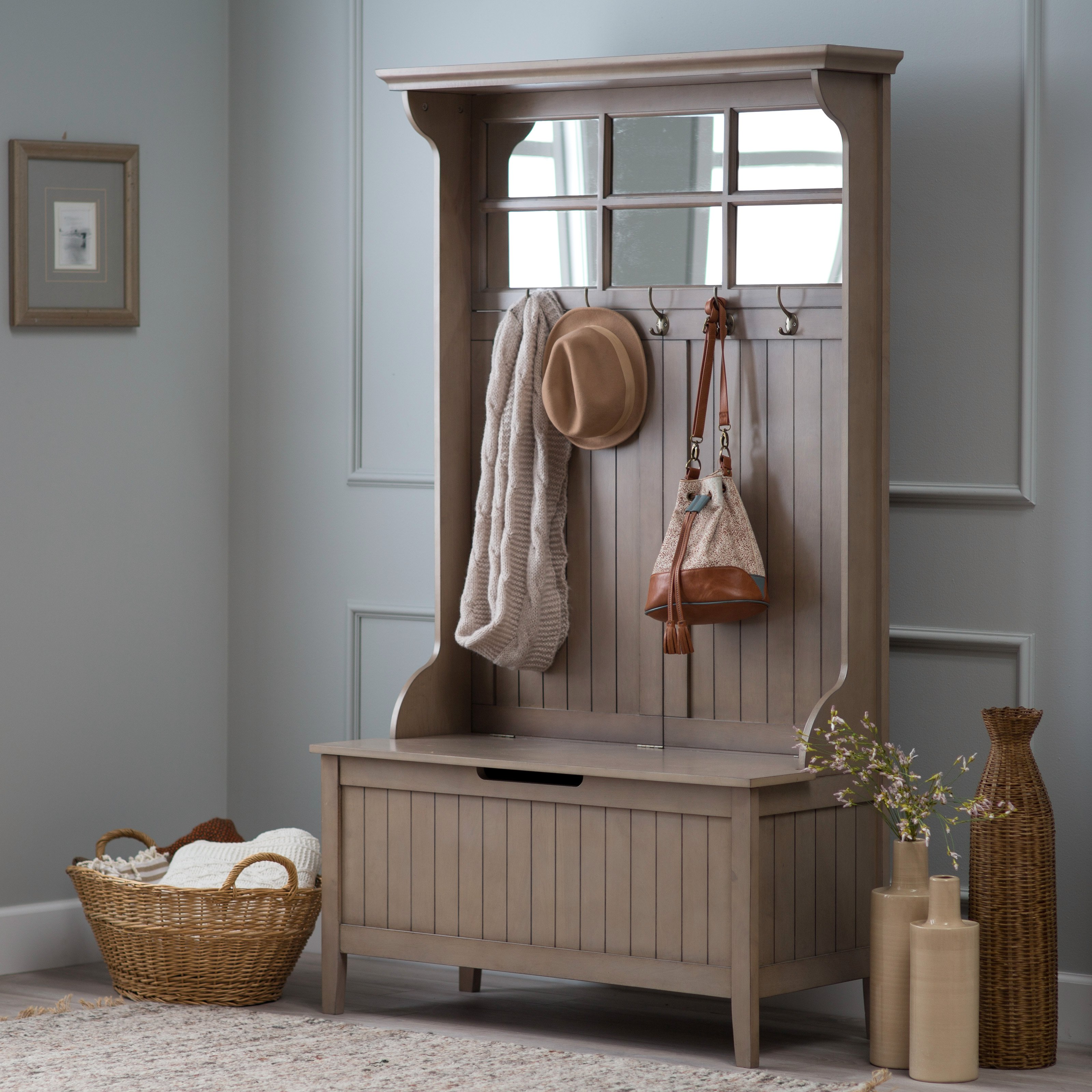 Belham Living Richland Hall Tree with Storage Bench - Driftwood Gray -  Walmart.com