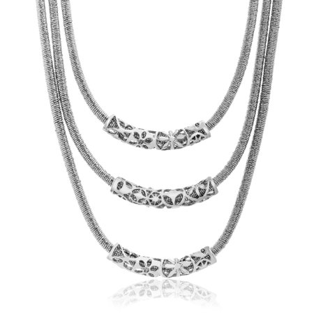 Bliss Women's Polished Triple Curved Bar Layered 21