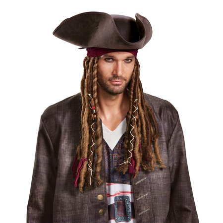 Pirates of the Caribbean 5: Captain Jack Hat Bandana & Dreads - Adult for $<!---->