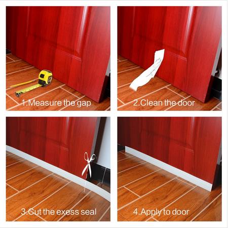 """2"""" W x 39"""" L Self-Adhesive Door Seal Strip Under Door Bottom for Interior Doors Seal Strip Insulation for Weatherproof, Soundproof White - image 4 of 7"""