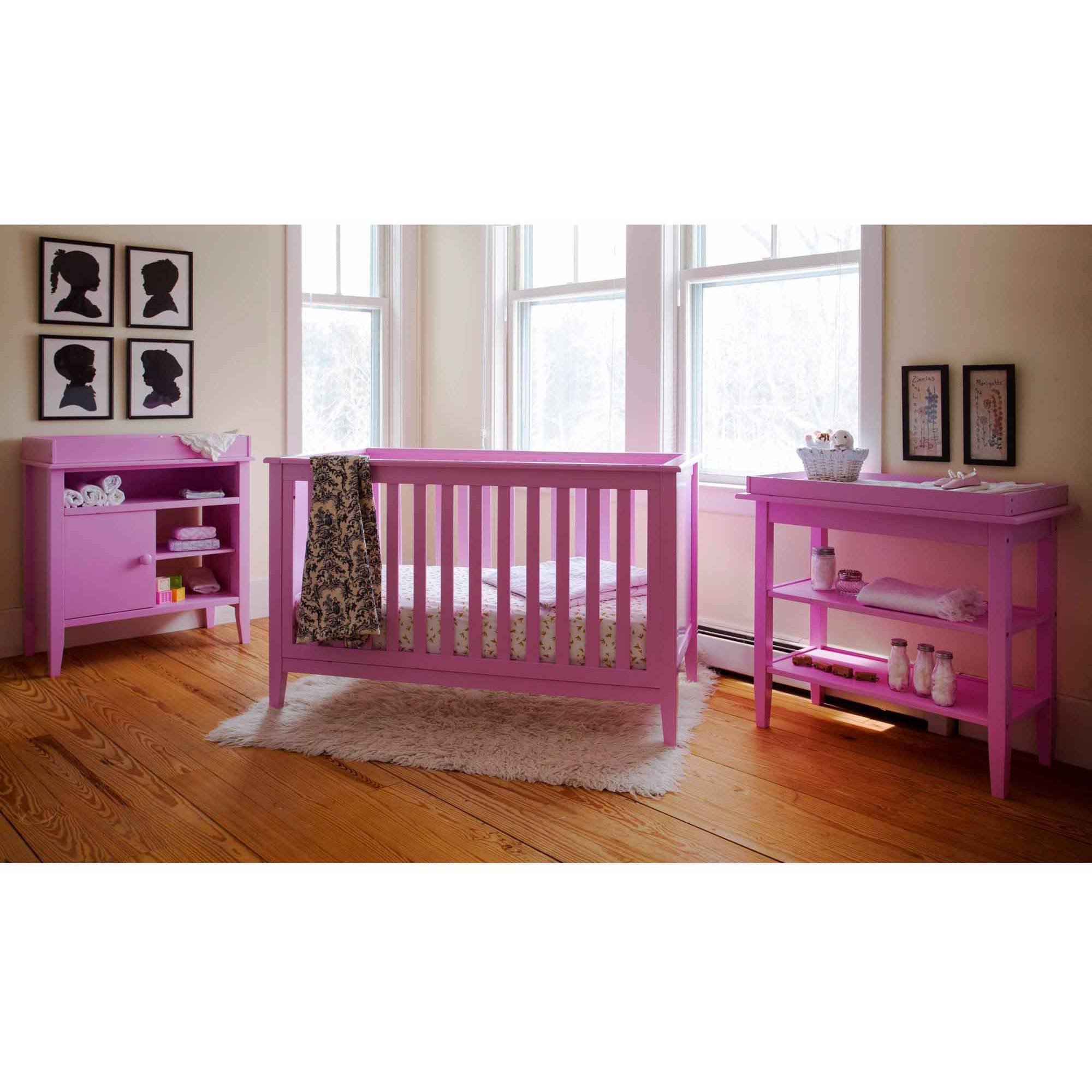 Lolly & Me Color Me 3-in-1 Convertible Crib Bubble Gum Pink
