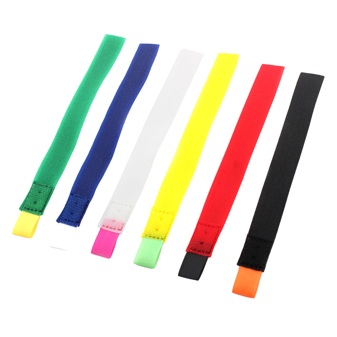 Self Adhesive Detachable Hook Loop Cable Wire Organizer Tape Assorted Color 6pcs