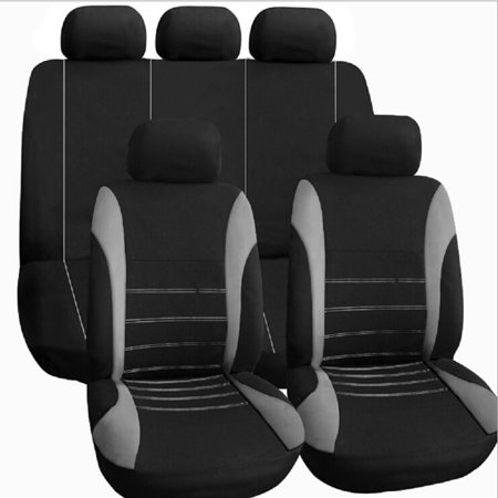 Universal Car Seat Cover Black Gray Blue 9Pcs Seat Covers