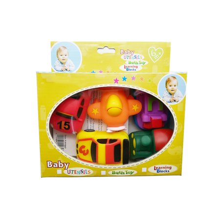Bath Toy Toddler Bathtub Toys - 5 Packs Baby Floating Squirts Toy Bathroom Pool Bathtime Toys Vehicle Toys for Kids Girls Boys with Boat Plice Car Fire Truck and Airplane Rubber Toys