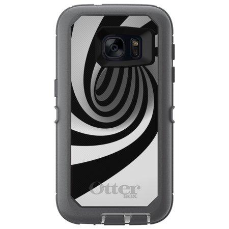 DistinctInk™ Custom Grey OtterBox Defender Series Case for Samsung Galaxy S7 - Black White Swirl Vortex Geometric