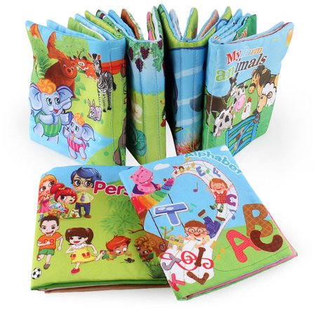 1pc Baby Early Learning Soft Cloth Books Creative Squeak Crinkle Book Puzzle Toys Gifts for Kids Style:vegetables - image 2 of 6