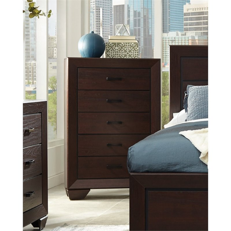 Coaster Company Kauffman Collection 5-Drawer Chest, Dark Cocoa