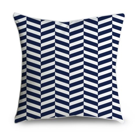"Wendana Navy Blue and White Geometric Accent Print Decorative Pillow Cover 18""x18""Home Decoration Square Accent Cushion Pillow Case for Sofa Livingroom"