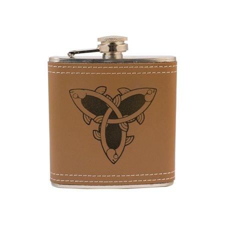 6oz Celtic Fish Knot Leather Flask L1 KLB