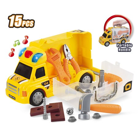 Best Choice Products 15-Piece Kids Portable Push & Play Fix-It Storage Vehicle Maintenance Repair Truck Car Pretend Toy Set w/  LED Lights, Sounds, Wrench, Hammer, Screw Driver, Pliers, Nuts &