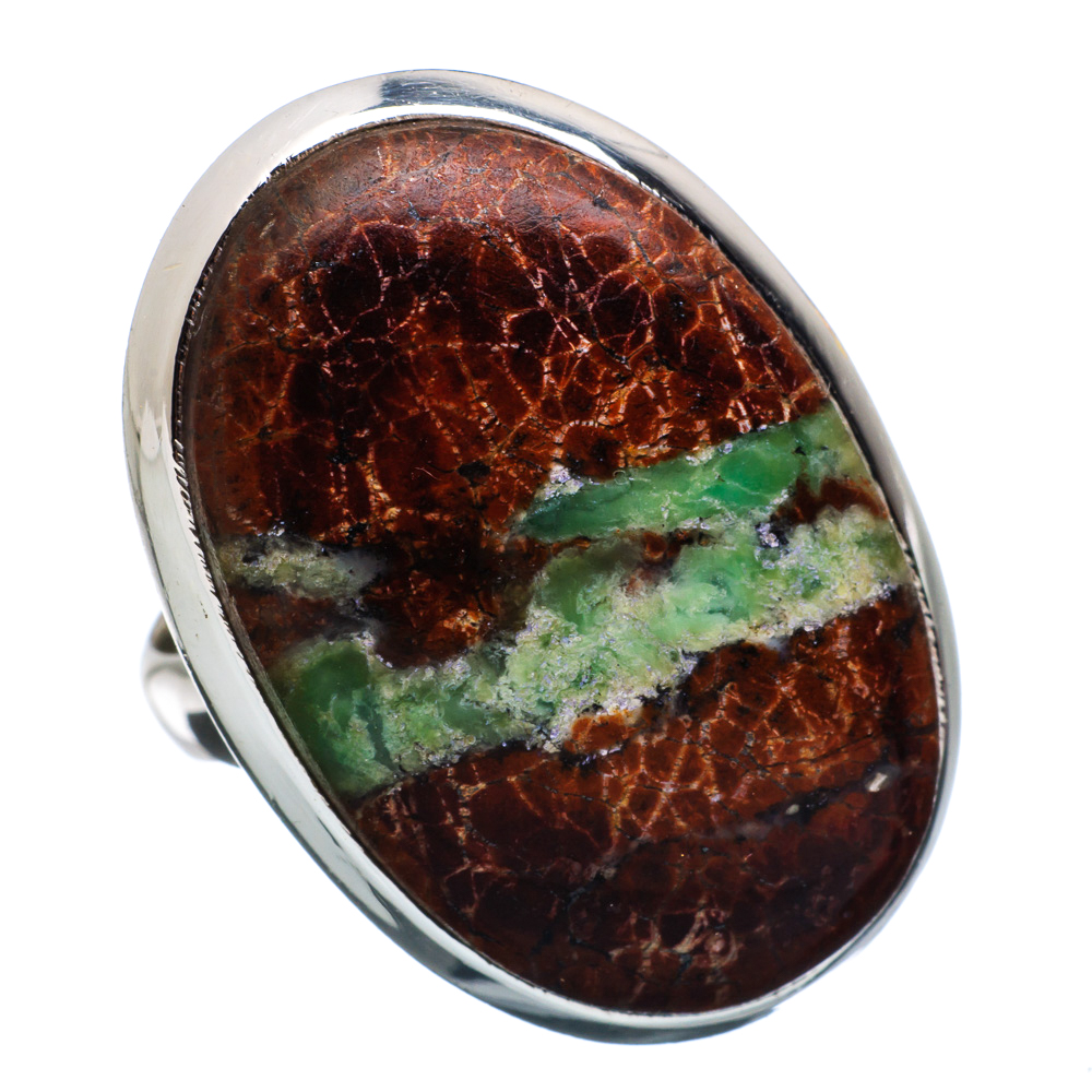 Ana Silver Co Boulder Chrysoprase 925 Sterling Silver Ring Size 7.25 Handmade Jewelry RING865014 by Ana Silver Co.