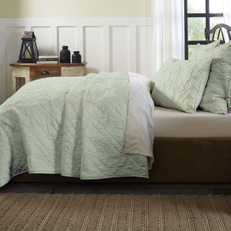 House Quilt - Sea Glass Green Farmhouse Bedding Aubree Cotton Pre-Washed Pleated Solid Color King Quilt