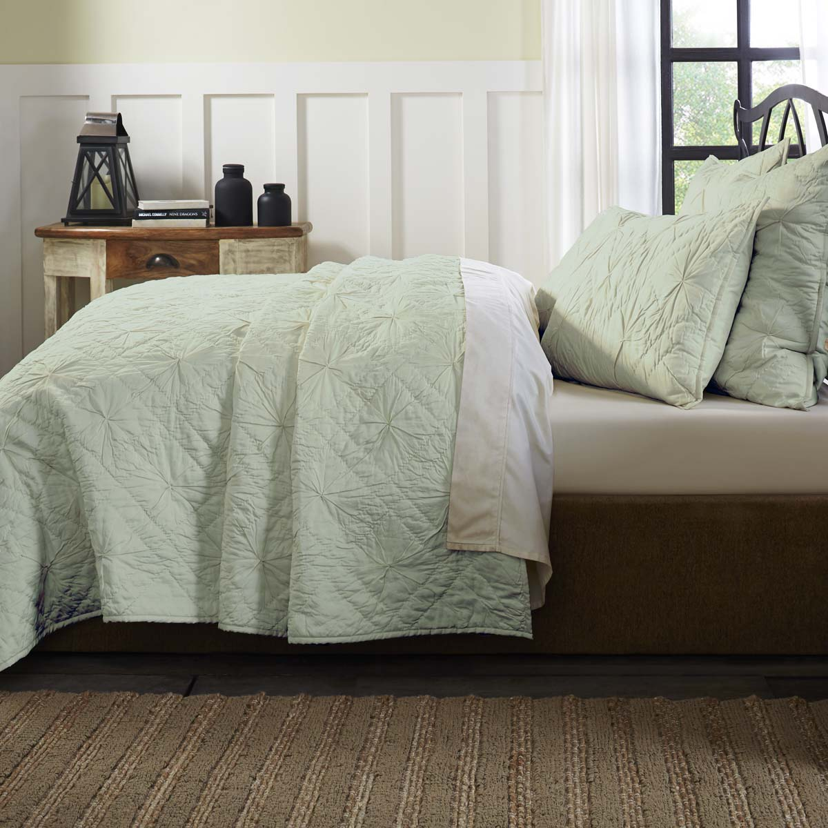Sea Glass Green Farmhouse Bedding Aubree Cotton Pre-Washed Pleated Solid Color King Quilt